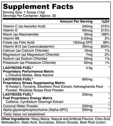 Lady Boss Fuel label and facts