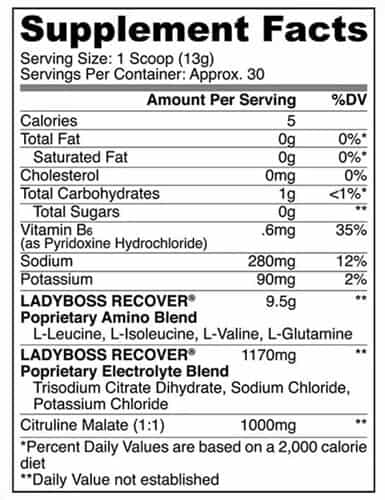 Lady Boss Recover Nutrition Facts