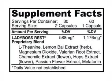 LadyBoss Rest nutrition label