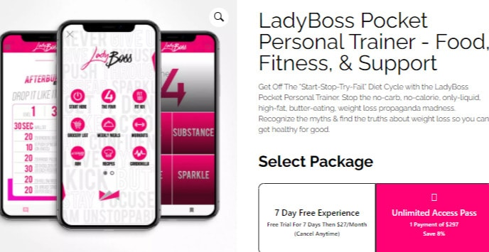 Lady Boss Pocket Personal Trainer Food Fitness Support