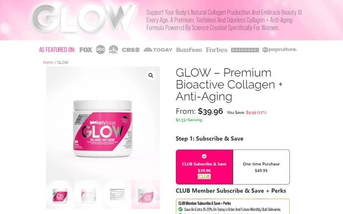LadyBoss Glow page