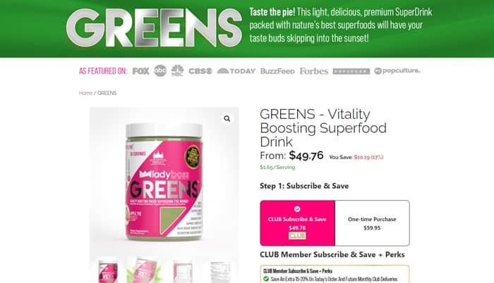 LadyBoss Greens page