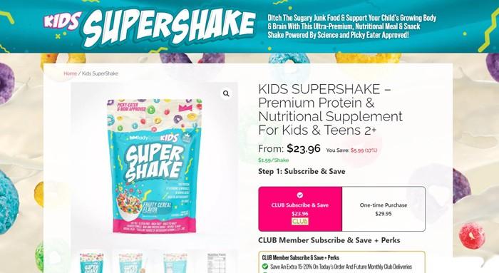 LadyBoss Kids nutritional shakes