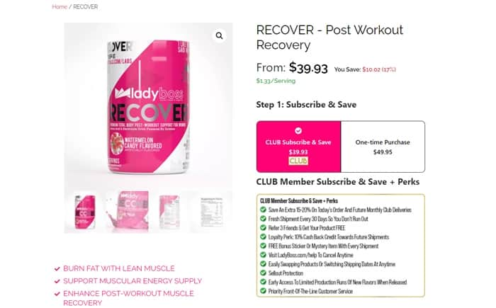 LadyBoss Recover supplement