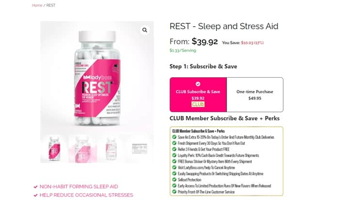 LadyBoss Rest sleep aid page